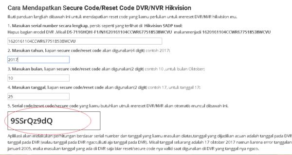 Cara Reset Password DVR